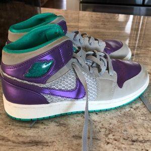 Turquoise and purple jordan's